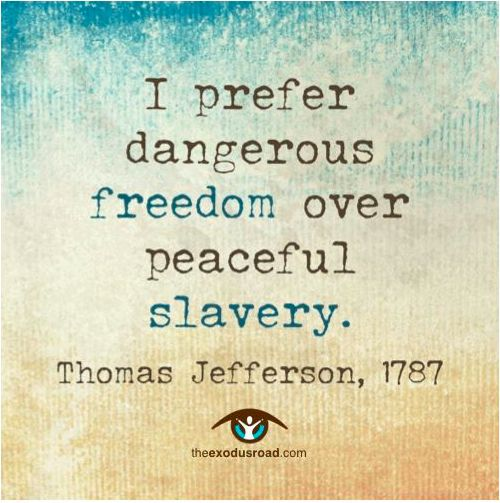 Freedom sayings i prefer dangerous freedom over peaceful slavery