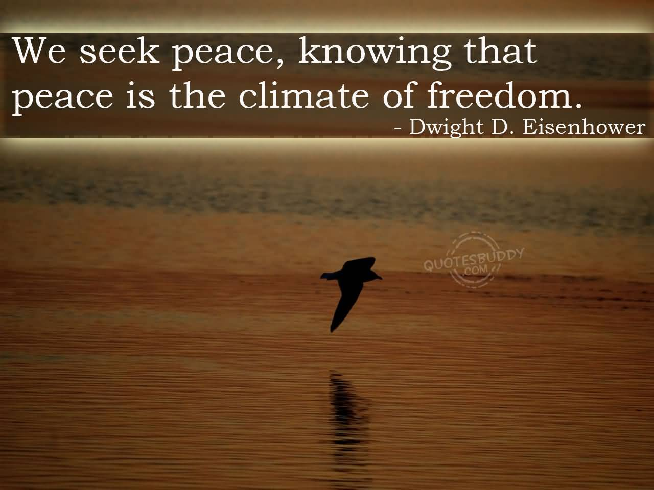 Freedom sayings we seek peace knowing that peace is the climate of freedom