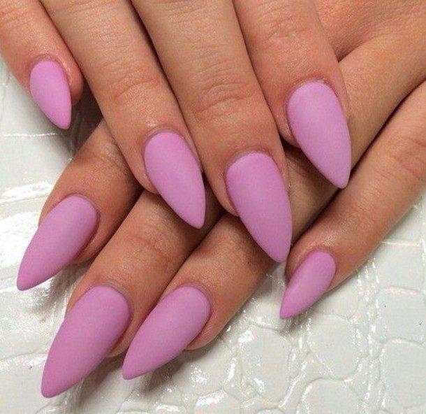 Full Purple Almond Shaped Acrylic Nail Art