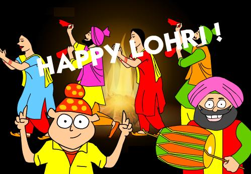 Funny Happy Lohri Wishes Greetings Image