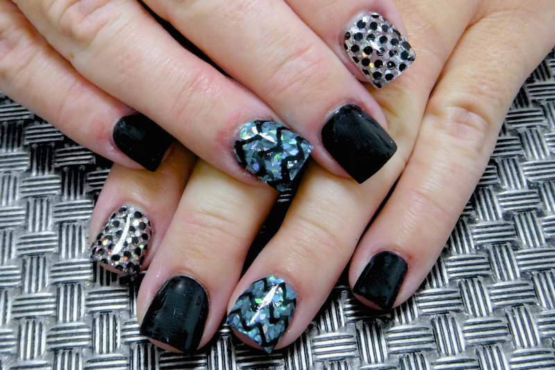 Glossy 3 design In One Hand Acrylic Short Nail Design