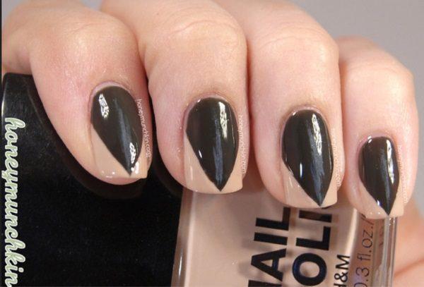 Glossy Black Nail Art With Sharp Nail Paint