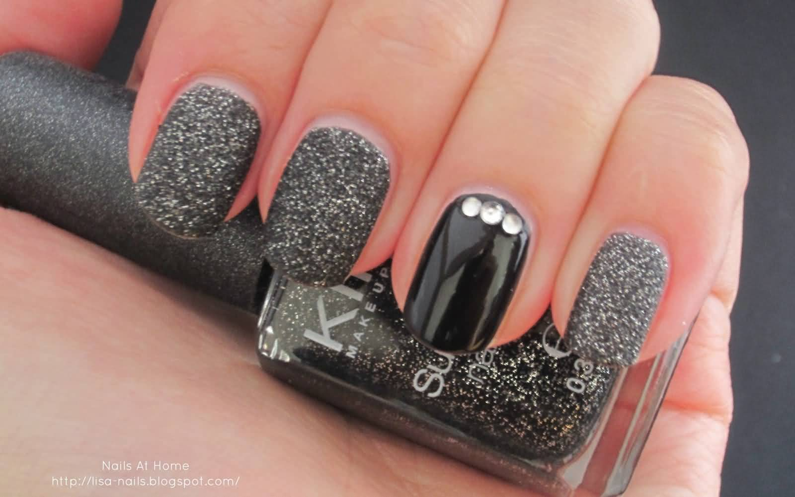 Glossy black nails with stones accent nail art picsmine glossy black nails with stones accent nail art prinsesfo Image collections