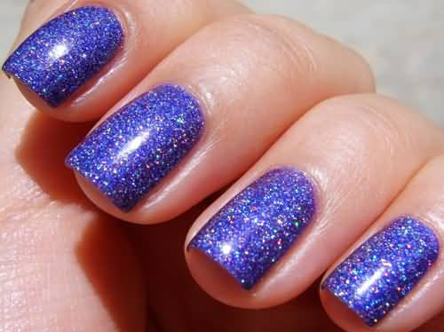 Glossy Blue Nail Paint Accent Nail Art