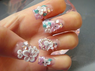 Glossy Flower And Nail Paint 3D Nail Art