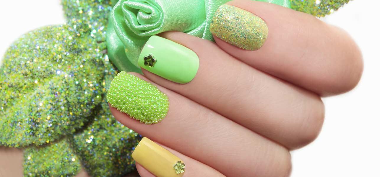 Glossy Green Nail Art 3D Nail Art