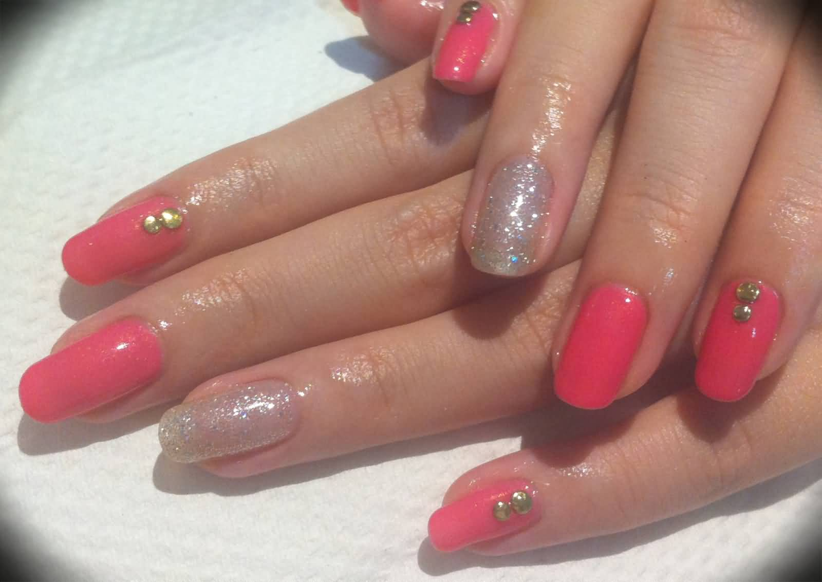 Glossy Pink And Sparkle Glitter Accent Nail Art