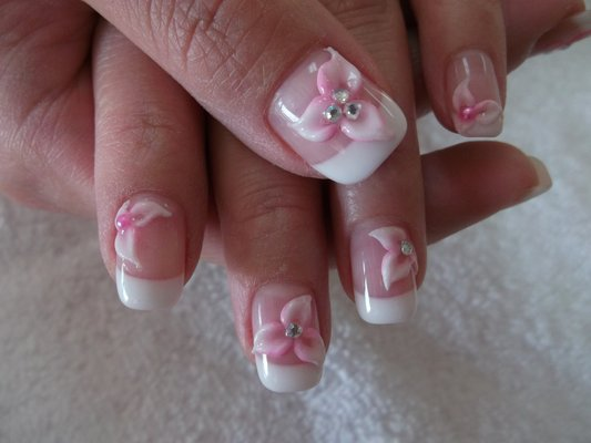 Glossy Pink Flower And Caviar Beads 3D Nail Art