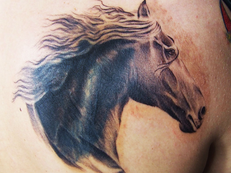 Glowing Horse Head Tattoo Design For Boys