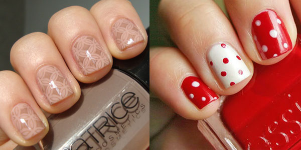 Good Looking Red And Brown Color Acrylic Short Nail Design