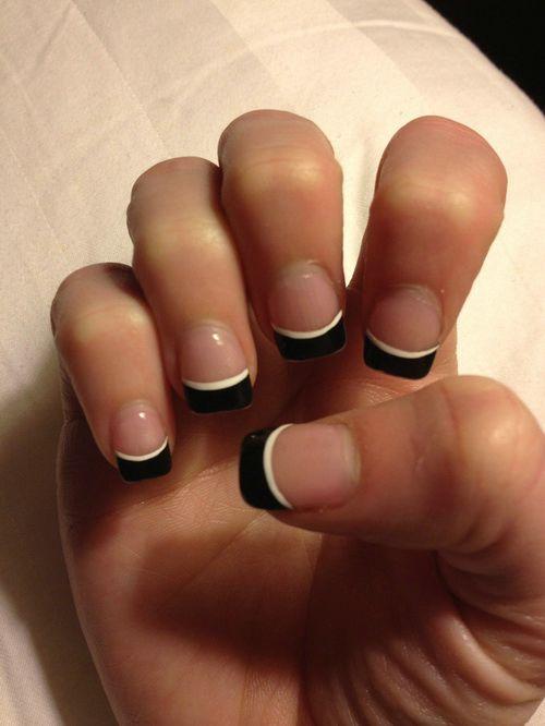 Great Black And White Tip With Natural Nail Black Acrylic Nail Art