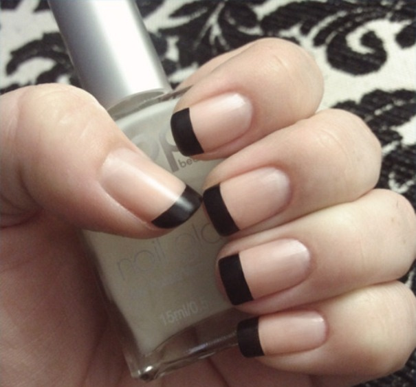 Great Black Matte Nails With Naked Nails