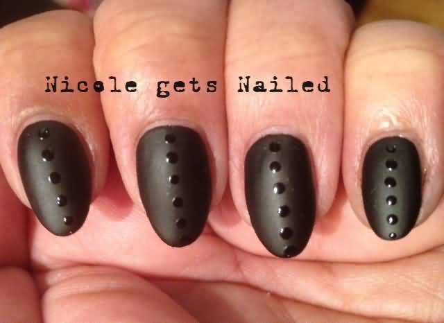Great Black Matte Nails With Shirt Button Design In Black Color