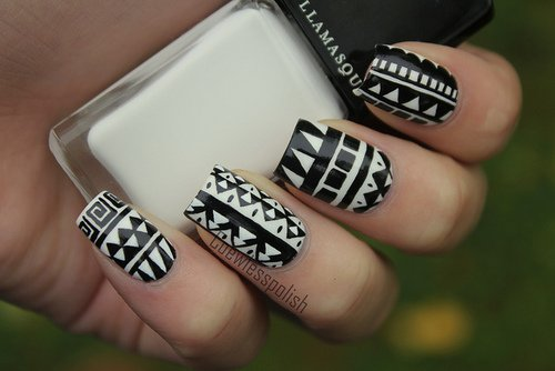 Great Black Nail Art With White Paint Design