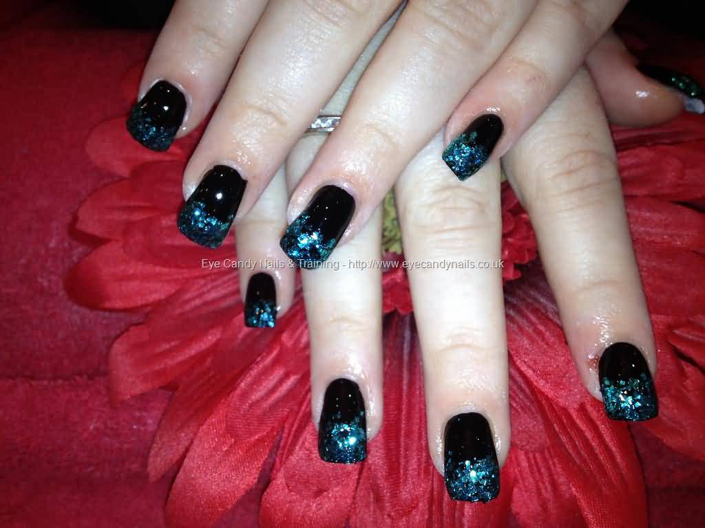 Great Black With SParkling Color Paint Black Acrylic Nail Art