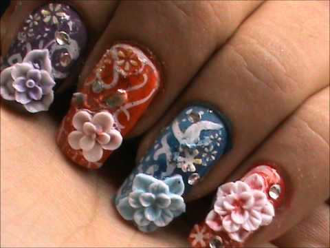 Great Colorful Flowers With 3D Acrylic Nail Art
