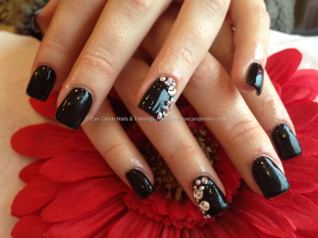 Great Glossy Black Nail Paint With Colorful Rhinestone Black Acrylic Nail Art