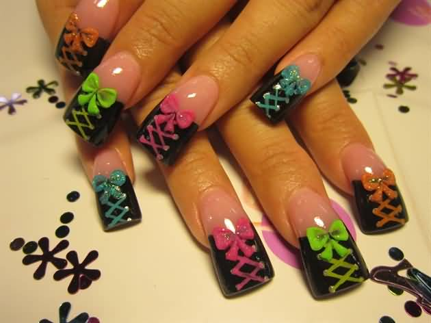 Great Ribbon And Colorful Design Accent Nail Design
