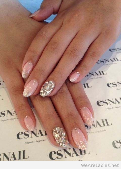 Great Silver Color Paint With Tips Glitter Accent Nail Art