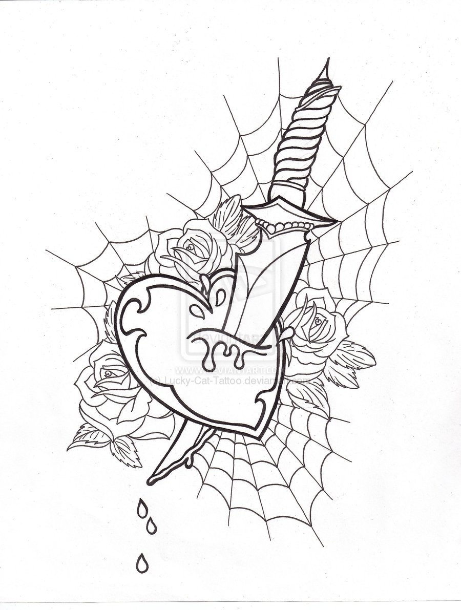 Great Uncolored Heart Dagger Tattoo Design For Boys