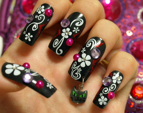 Great White Ink Flower With Diamond 3D Nail Art