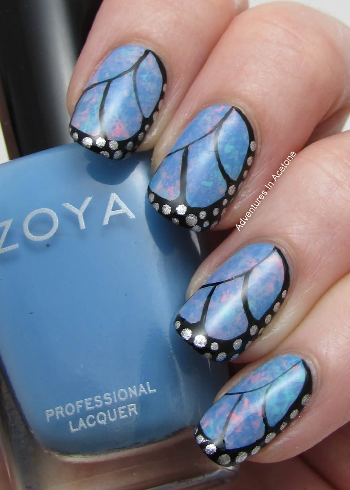 Greatest Butterfly Nail With Feather Design