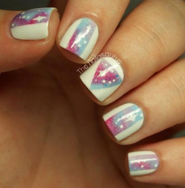 Greatest White Color With Color full triangle Acrylic Short Nail Design
