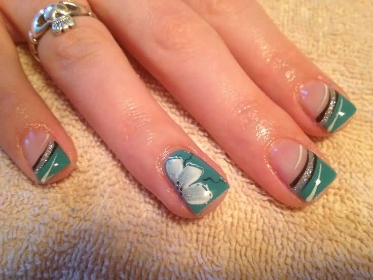 Green Tip With Flower Accent Nail Art