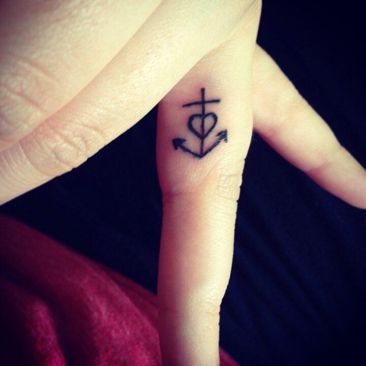 Groovy Anchor Heart Tattoo On Finger For Girls