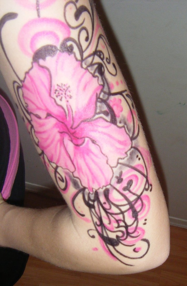 Groovy Hibiscus Tattoo On Arm For Girls