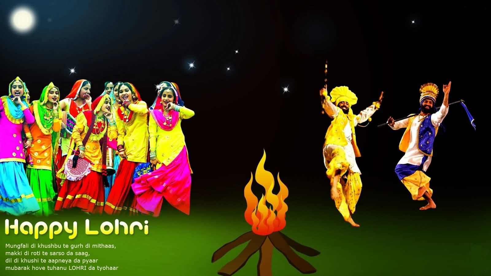 Happy Lohri Best Message With Bhangra Image