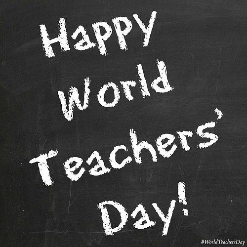 Happy World Teacher's Day Written On Blackboard