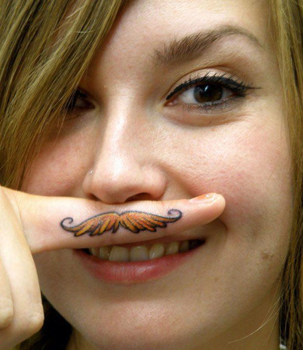 Horrible Finger Moustache Tattoo For Girls