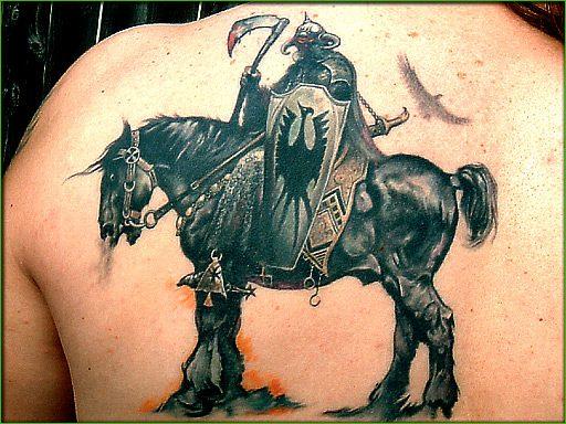 Horrible Hatchet Horse Tattoo On Back For Boys