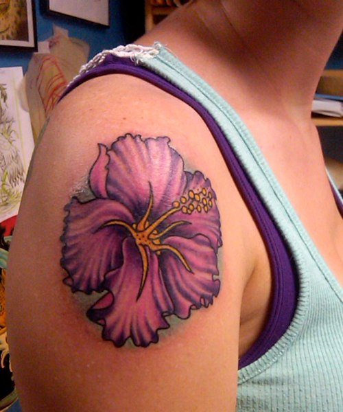 Horrible Hibiscus Tattoo On Right Shoulder For Girls