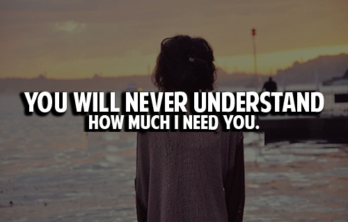 I Need You Quotes You will never understand how much i need you