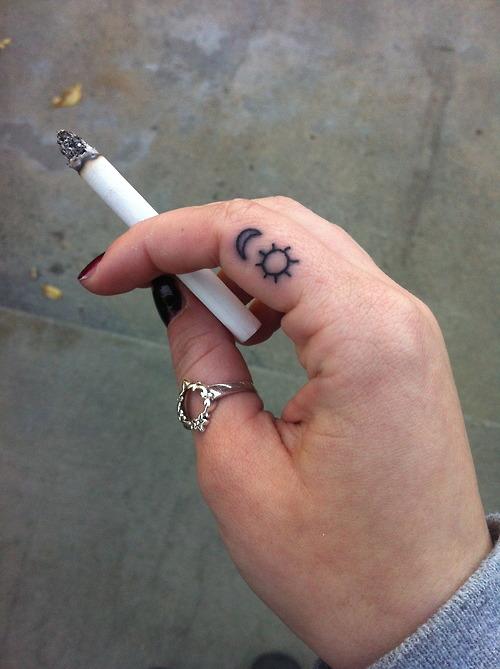 Impressive Small Finger Tattoo Design For Girls