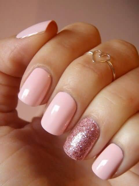Incredible Baby Pink Glitter Accent Nail Art