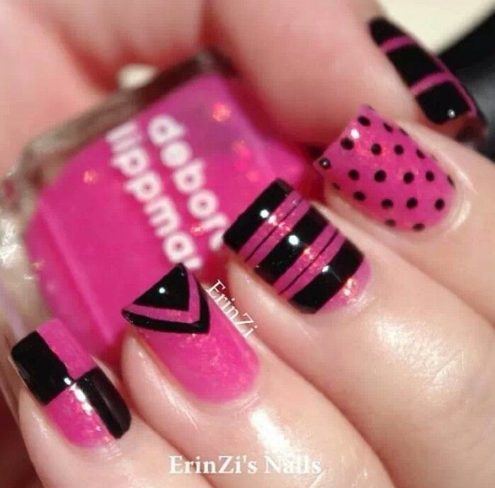 Incredible Black And Pink Nails With 4 Different Design - 55 Trendy Black And Pink Nail Art Design, Style & Ideas Picsmine