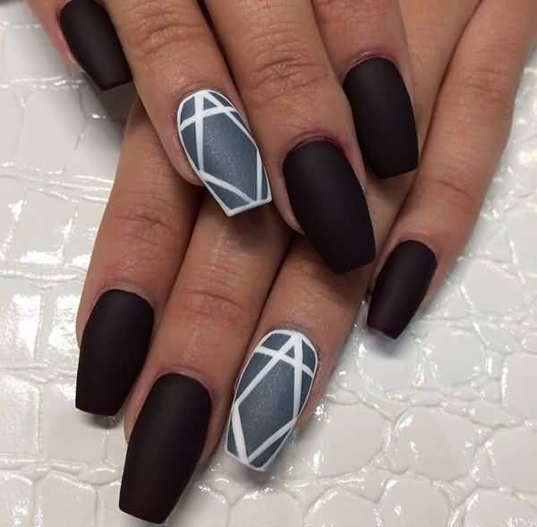 Incredible Black Nail Art With Crystal Design