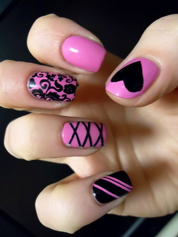 Incredible Black Nail Art With Pink Paint