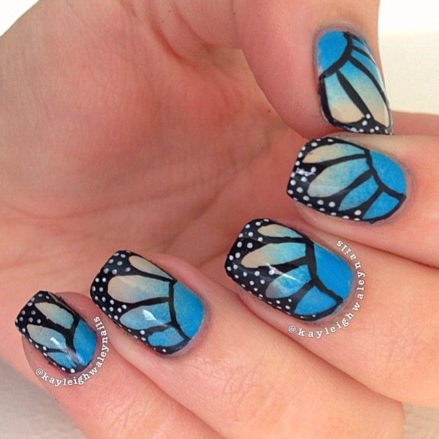 Incredible Butterfly Nail With Black Back Ground