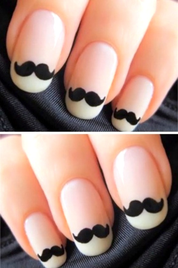 Incredible Mustache Image On Nails Black And White Nail Art