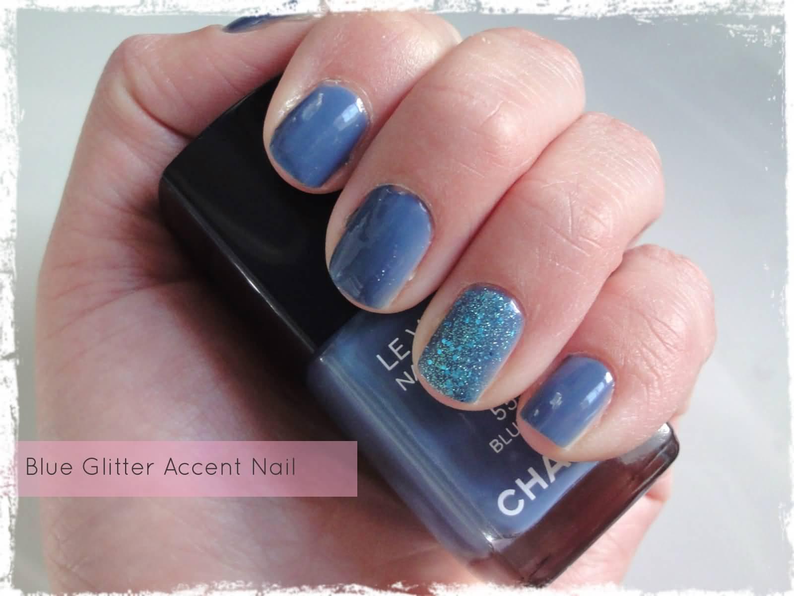 Incredible Purple Glitter Accent Nail Art