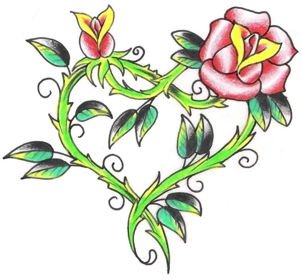 Incredible Rose Heart Tattoo Sample For Boys