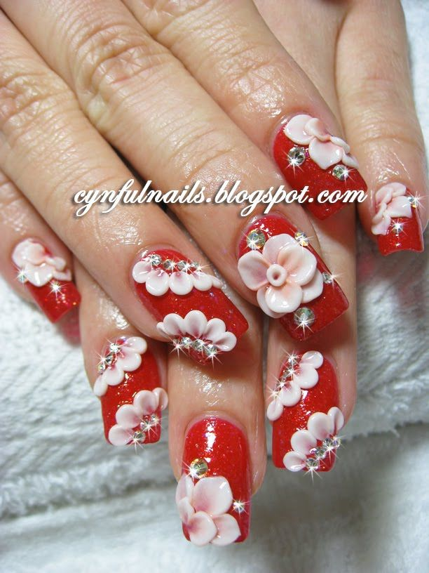 Incredible Rose With Red 3D Acrylic Nail Art