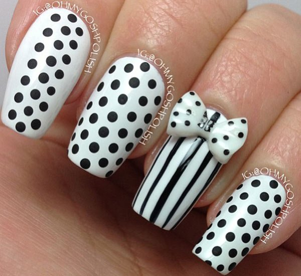 Incredible White And Black Nail Art With 3D Bow