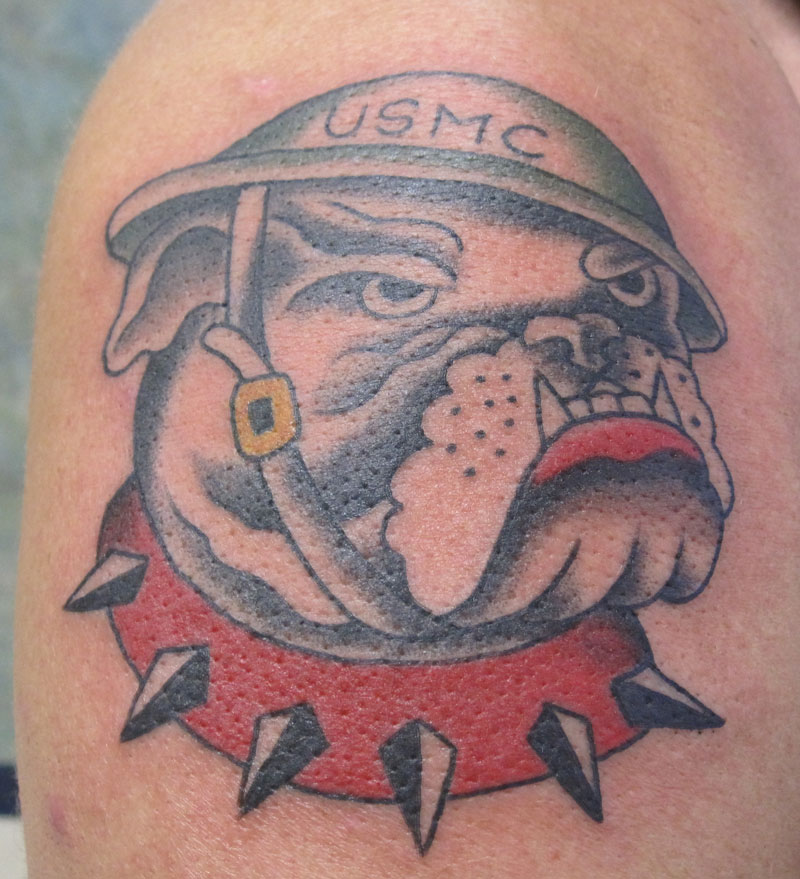 Innovative Bulldog Head In USMC Helmet Tattoo For Boys