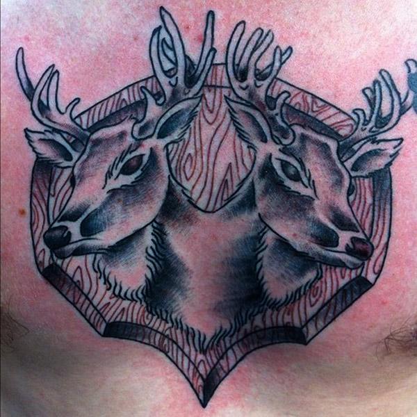 Innovative Deer Head Tattoo Design On Chest For Boys