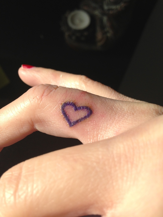 Innovative Heart Finger Tattoo For Girls